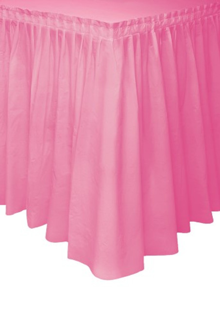 "HOT PINK PLASTIC TABLESKIRT 73cm X 4.3m (29""X14')"