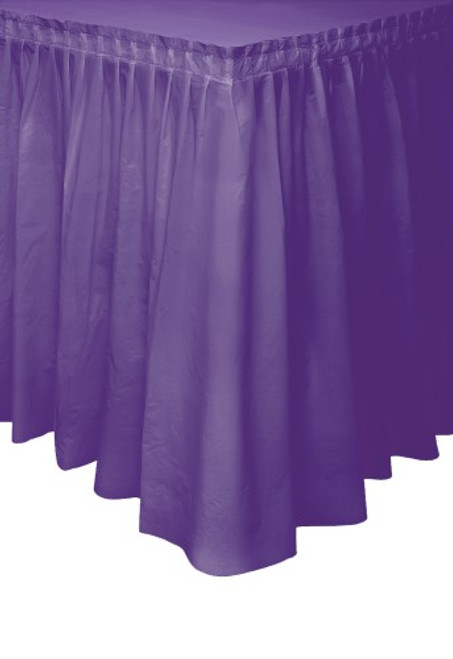 "DEEP PURPLE PLASTIC TABLESKIRT 73cm X 4.3m (29""X14')"