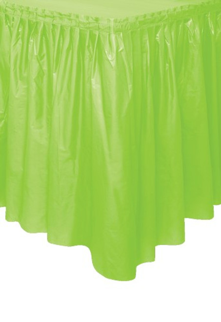 "LIME GREEN PLASTIC TABLESKIRT 73cm X 4.3m (29""X14'"