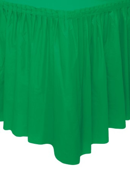 "EMERALD GREEN PLASTIC TABLESKIRT 73cm X 426cm (29"" X 14')"