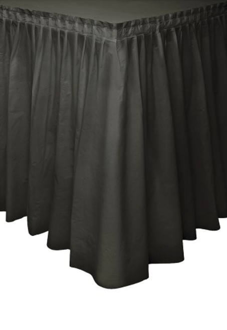 "MIDNIGHT BLACK PLASTIC TABLESKIRT 73cm X 4.3m (29""X14')"