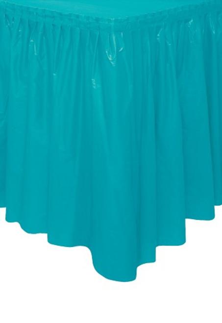 "CARIBBEAN TEAL PLASTIC TABLESKIRT 73cm X 4.3m (29""X14')"