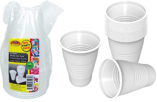 White USA Style Disposable Plastic Cups (16OZ) 500ML-12PK