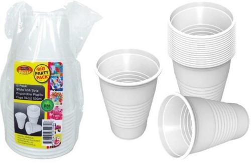White USA Style Disposable Plastic Cups (16OZ) 500ML-12PK
