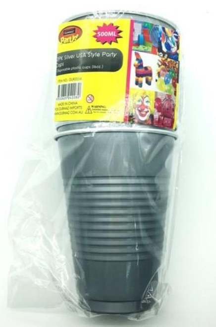 12Pk 500ML American Party Cups - Silver