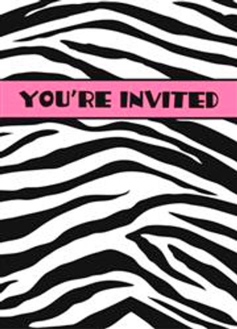 ZEBRA PASSION 8 INVITATIONS