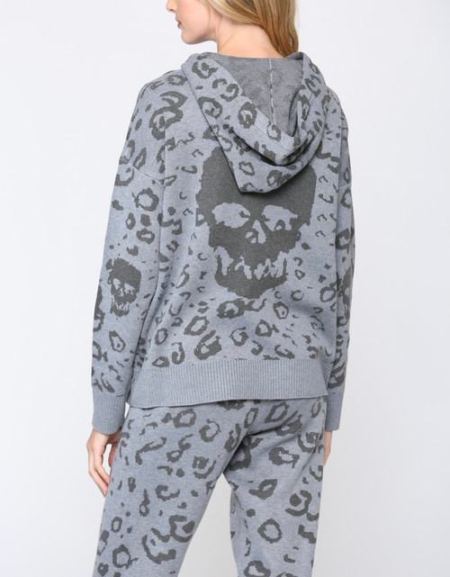 Skull Knit Hooded Sweater/ Matching Mask