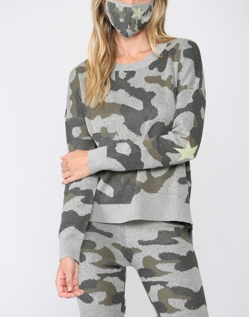 Camo Crew Neck Sweater/ Star On Elbow w/ Matching Mask