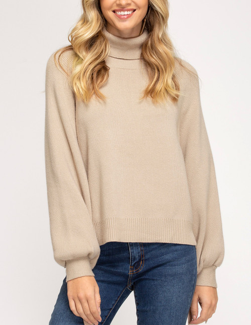 Tied Long Sleeve Turtle Neck Sweater