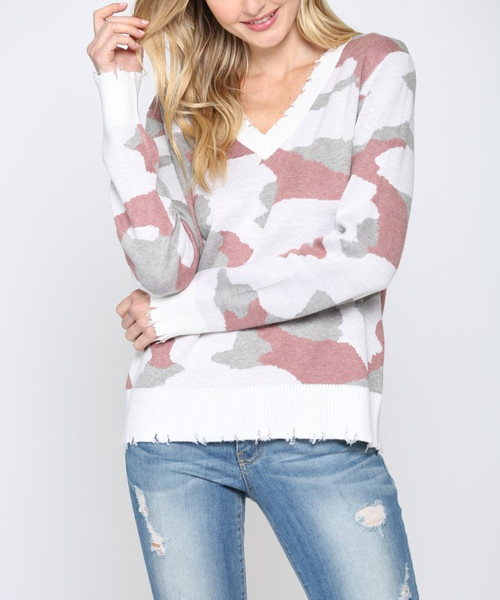 Camo V-Neck Distressed Sweater