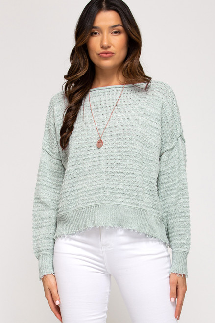 Long Sleeve Two Toned Textured Knit Sweater Top