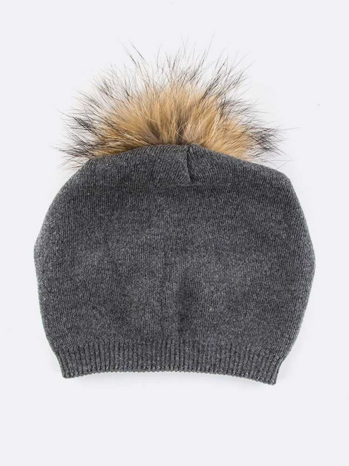 Slouchy Natural Fur Pom Beanie