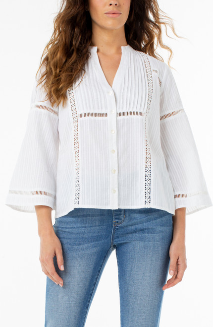 Pin Tuck Flared Sleeve Top with Trim