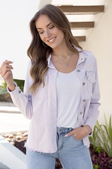 Fringe Edge Long Sleeve Button Down Top