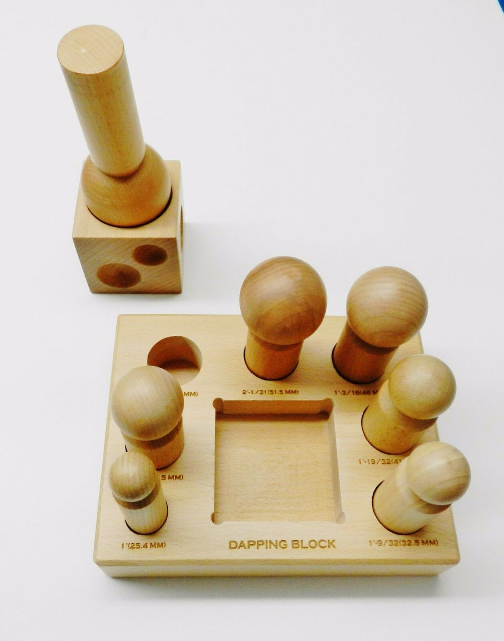 Wooden Dapping Block And Punches Set