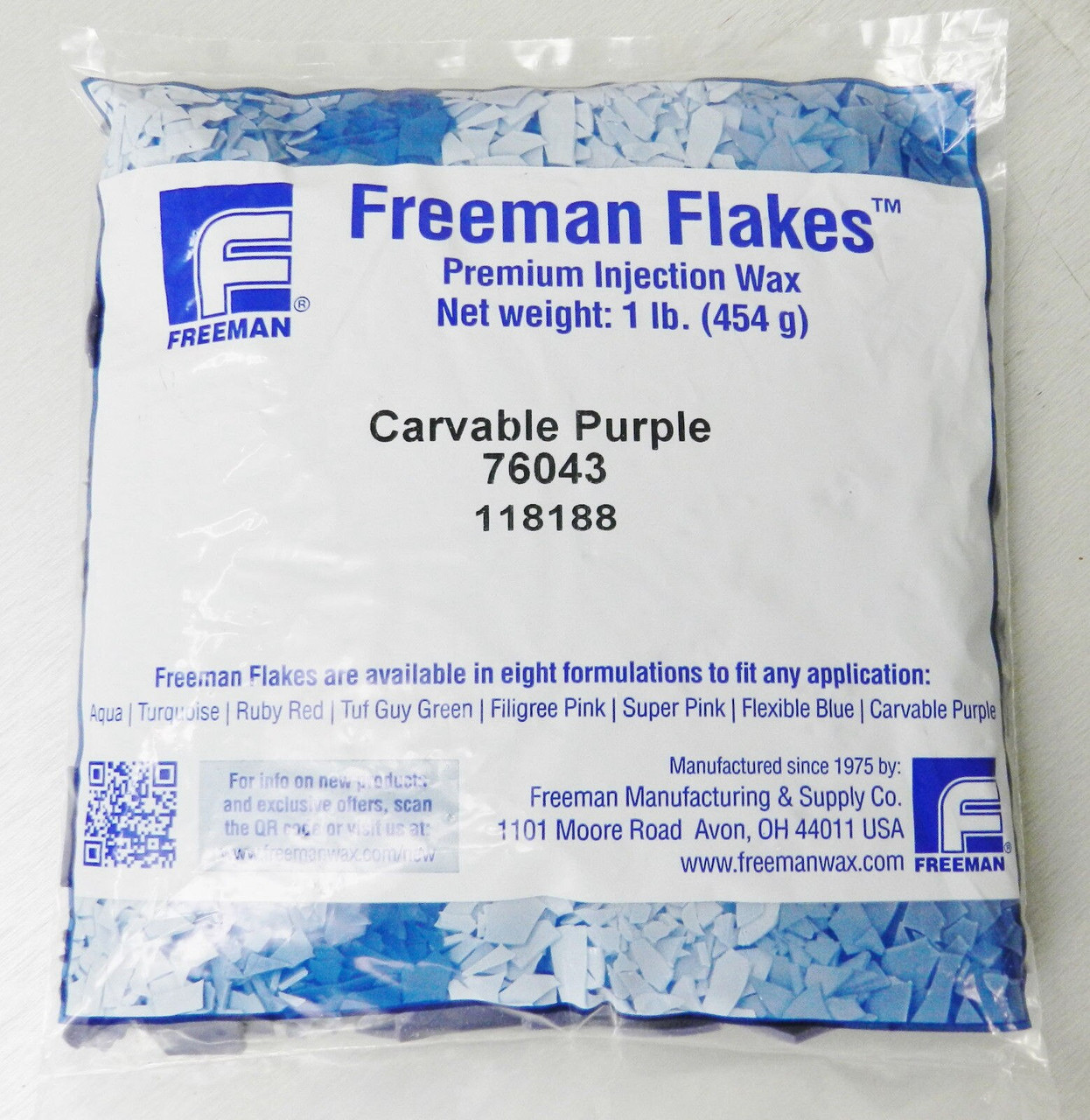 Freeman Injection Wax Carvable Purple Flake 1 Pound