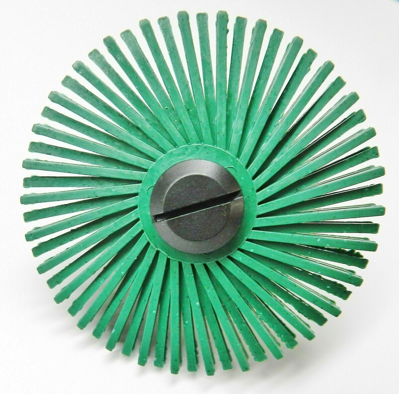 """3m Radial Bristle Disc 3/"""" 1Mic Grit Light Green /& 1//4/"""" Mandrel 6 Brushes /& Arbor"""