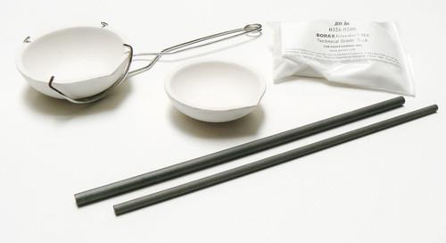 Crucible Melting Kit 2 Large Ceramic Dish Italy - Stirring Rods Whip Tong Borax