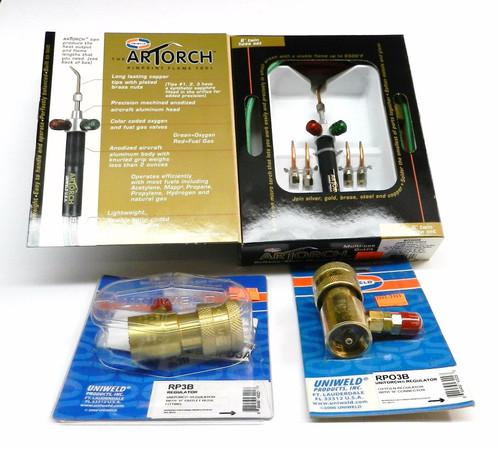 Artorch Uniweld Complete Set Torch 5-Tips & Preset Regulators Soldering Kit