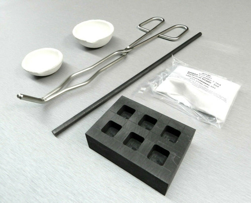 Gold Silver Melting Kit Melt & Pour 1oz Bars Crucible -Tong - Rod -Borax & Ingot