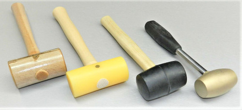 Mallets Set of 4 -Rawhide -Brass -Rubber -Nylon Mallets Jewelry Metalwork Crafts