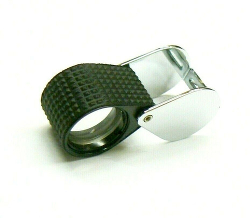 10X Triplet Jewelers Loupe Black Rubber Grip & Silver Case 18mm & Leather Case