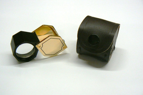 Jewelers Loupes 10X Hex Gold Tone 21mm Triplet Loupe Leather Case