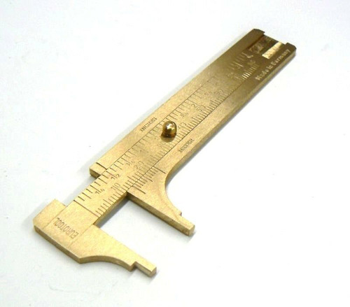 "80mm Brass Sliding Gauge Pocket Caliper Vernier 3"" Inch & MM Jewelry Tool German"