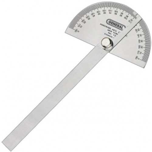 "Protractor General Tool No.18 Round Head Stainless Steel 6"" 0-180 Degree 22024"