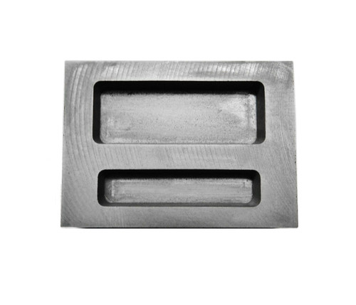 Graphite Ingot Mold 2 Pockets 1/2oz & 1oz Capacity Melting Scrap Gold Make Bars