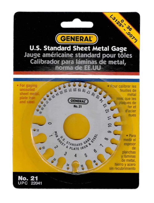 Sheet Metal Gauge U S Standard Gage General #21 Plate Range 0 to 36 & Decimals