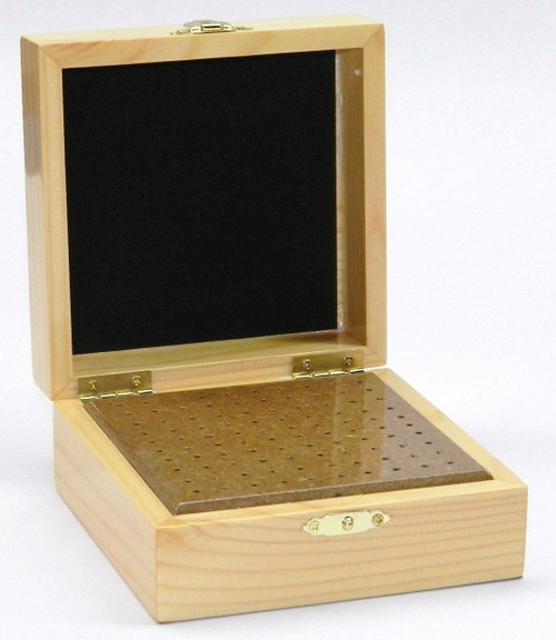100 Hole Burs Wooden Box Organizer