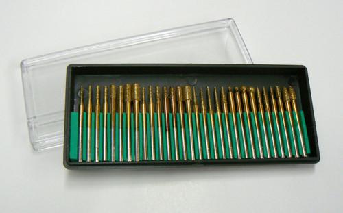 """30 Pc Diamond Titanium Coated Burs Set 1/8"""" Shank Med Grit Lapid"""