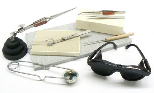 Jewelry Soldering Kit Tools Materials Set Magnesia Block Tweezers 3rd Hand