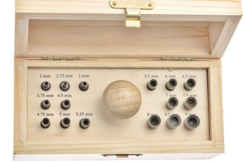 Bezel Setting Punch Set in Wood Box with 16 Punches Size 3mm to 9mm
