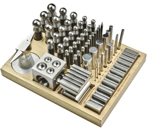 56pc Dapping Punch Set Jumbo Doming & Steel Swage Block Pro Jewelry Forming Kit