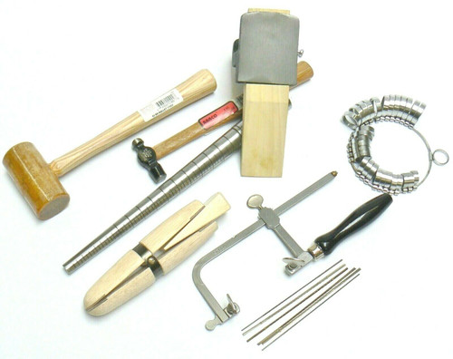 Jewelry Making Kit Basic Tool Jewelers Set - Anvil Mandrel Saw Frame Mallet