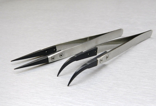 Anti-Static Stainless Fiber Tip Tweezer Set