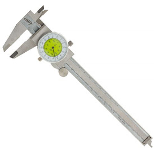 "iGaging Fractional Dial Caliper 6"" Inside Outside Depth Gauge Reads 0.01 - 1/64"""