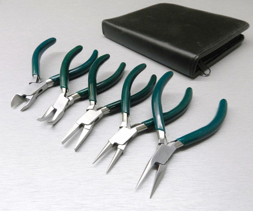 """5 Pc Jewelers Pliers Set Jewelry Making Beading Wire Wrapping Hobby 5"""" Plier Kit"""