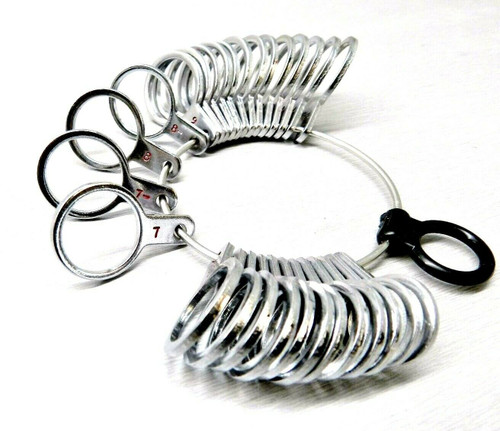 Finger Size Gauge Metal Ring Sizer Finger Measuring Gauge 29 Rings Sizes 1-15