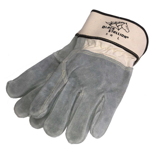 Leather Work Gloves Premium Grain Cowhide Reinforced Palm Fingers Black Stallion