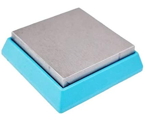 "Bead Buddy Bench Block Steel Rubber Cushion Base 2-1/2"" Square Anvil 3/4"" Thick"