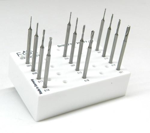 """FOX Bur Drills Jewelry Twist Drills Burs 3/32"""" Shank Fig77 Set of 12 -005-021mm"""
