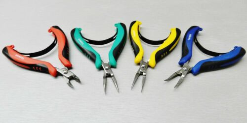 Set of 4 Pliers Mini Ergonomic Palm Held Pliers Chain, Round, Flat Nose & Cutter