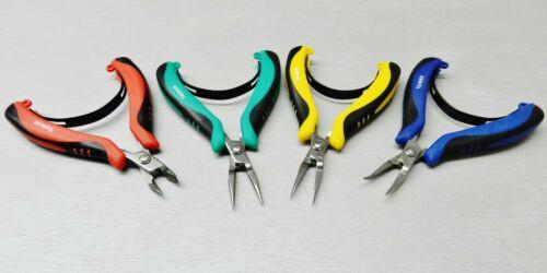 Set of 4 Pliers Mini Ergonomic Palm Held Pliers Chain, Round, Flat Nose & Cutter