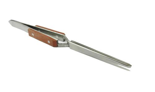 Straight Blunt Cross Locking Fiber Grip Tweezers