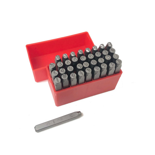 Metal Marking Stamps Alphabet and Numbers Hand Punches 5mm lower case 36 Pc Set