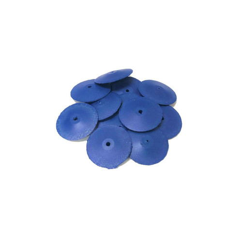 """Jewelry Silicone Polisher 7/8"""" Coarse Blue Polishers 100 Grit Knife Edges Pacific Abrasives Pack of 10"""