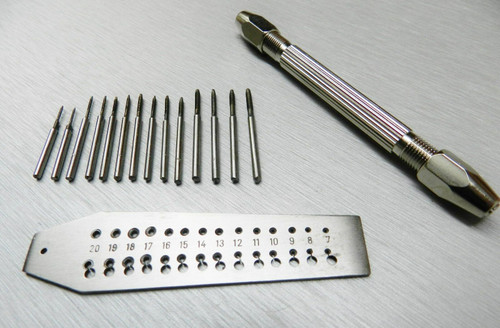 Mini Tap and Die Set 14 Taps and Screwplate & Pin Vise Set 0.7-2mm Jewelry Making